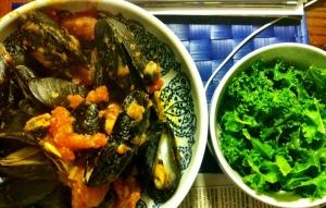 mussels + kale